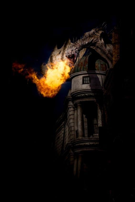 Universal Studios Breathing Fire - dragon photo from diagon alley